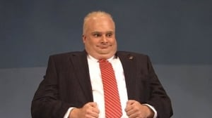SNL actor Bobby Moynihan does his impression of embattled Toronto Mayor Rob Ford on the NBC show famous for political satire.
