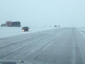 Highway 1 bad roads - east of Calgary