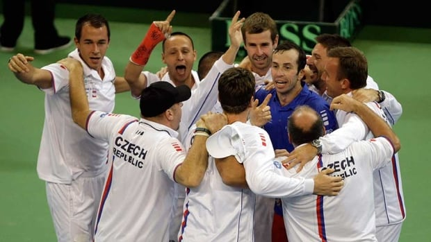 Members of the Czech national tennis team celebrate after they won the Davis Cup Finals in Belgrade, Serbia on Sunday.