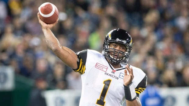 Hamilton Tiger-Cats quarterback Henry urris throws a pass against the Toronto Argonauts during first half CFL eastern conference final football action in Toronto on Sunday November 17 , 2013.