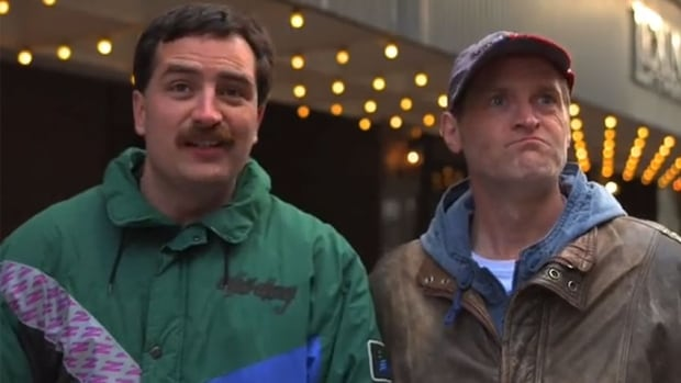 Robbie Moses and Dennis Trainor as Parnell and Terry Gallant in the web series Just Passing Through. It features two Island men who make an extended stop in Toronto on the way to work in Alberta.