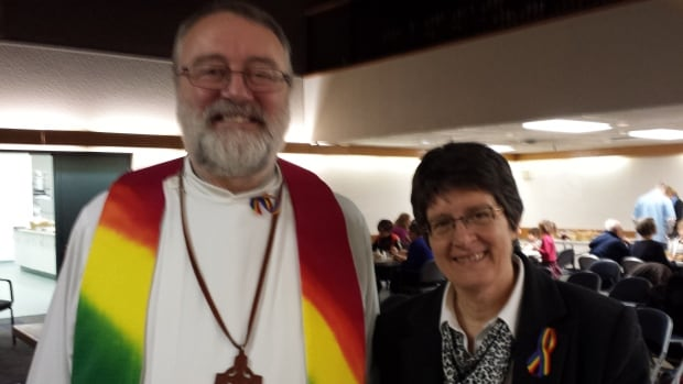 United Church minister Nancy Steeves, with Minister Peter Chynoweth, says churches that welcome everyone are a dime a dozen.