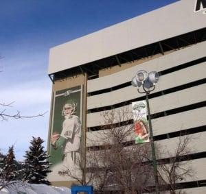 Kent Austin banner at Mosaic Stadium in Regina
