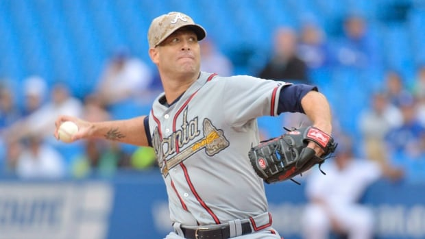 Veteran pitcher Tim Hudson went 8-7 with a 3.97 ERA in 21 starts this season for Atlanta.