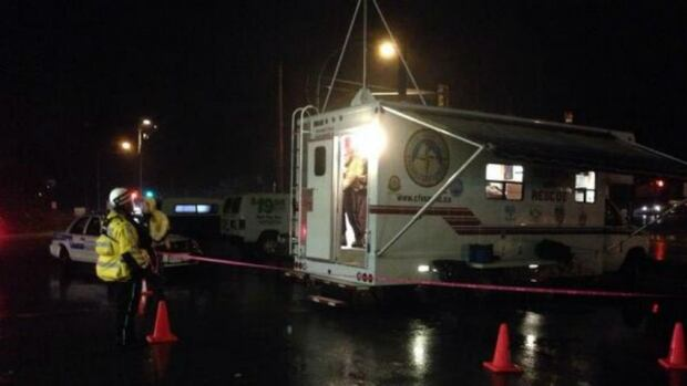 The command post for the search and rescue crews looking for an ultralight aircraft that crashed in northwest Abbotsford, B.C., Monday night.