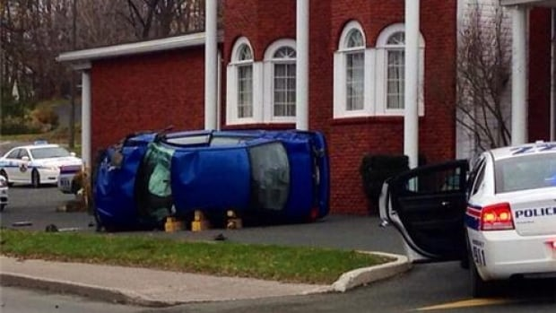 Two vehicles were involved in a crash Tuesday on the doorstep of Barrett's Funeral Home on Hamilton Avenue in St. John's.