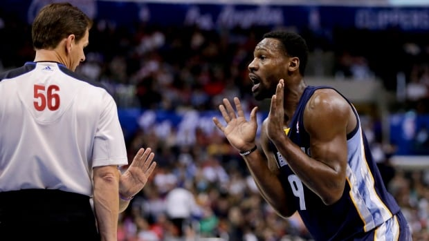 Memphis Grizzlies shooting guard Tony Allen, right, reacts after getting called for a foul by referee Mark Ayotte during the first half of an NBA basketball game in Los Angeles on Monday. Allen kicked Clippers' star Chris Paul in the face and has subsequently been suspended one game by the league.