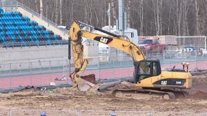 Moncton Stadium construction