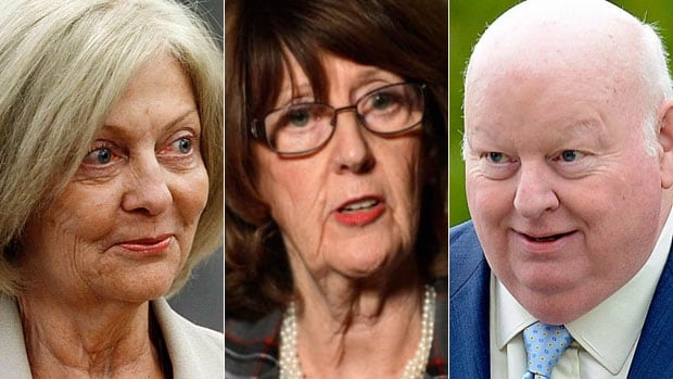 Documents filed in court by an RCMP investigator and released Wednesday call into question previous statements by, from left, Senators Carolyn Stewart Olsen, Marjory LeBreton and Mike Duffy.