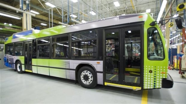 An electric bus made by Nova Bus sits at the plant in St-Eustache.