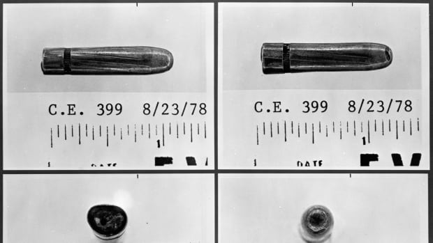 This series of June 13, 1967 photographs provided by the Warren Commission shows four sides of a bullet from Lee Harvey Oswald's rifle that may have come from Texas governor John Connally's or president John F. Kennedy's stretchers. Modern ballistic science may have been able to tell investigators much more than techniques used 50 years ago.