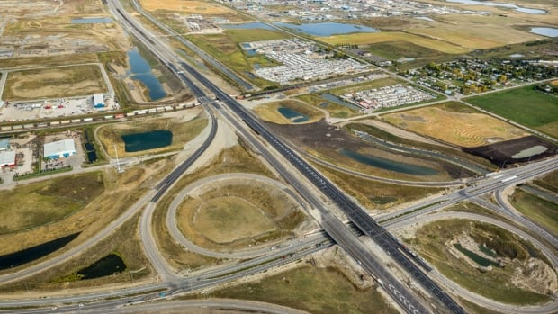 An aerial view of the southeast ring road, at the 114th Avenue intersection, as the project neared completion in September.