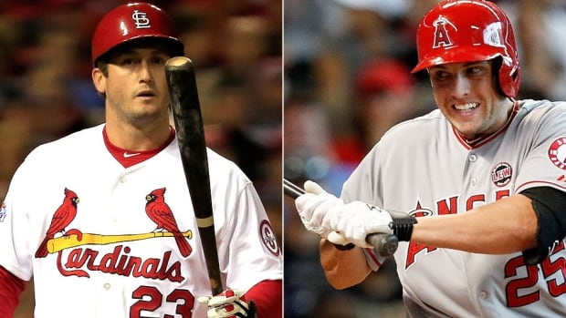The Cardinals traded third baseman David Freese, left, to the Angels for outfielder Peter Bourjos, right. St. Louis also picked up outfield prospect Randal Grichuk for relief pitcher Fernando Salas. (Getty Images/CBCSports.ca)