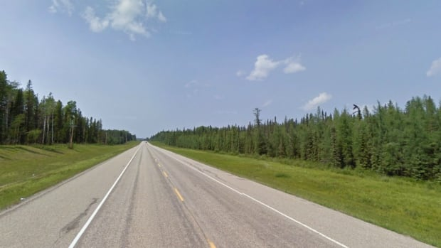 The approximate location on the David Thompson Highway, 40 km west of Rocky Mountain House, where a 14-year-old girl was allegedly hit and killed by a pickup truck as she walked along the road.