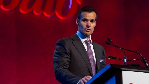 Saputo Inc. president and CEO Lino Saputo Jr., addresses shareholders during the company's annual general meeting in Laval, Que. on August 6. Saputo has offered $498 million for Australian dairy Warrnambool Cheese and Butter, but rival bidders may block its attempted takeover.