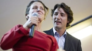 Chrystia Freeland and Justin Trudeau in Toronto