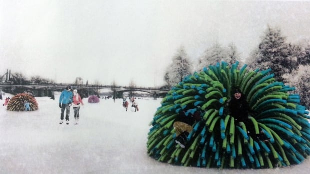 Nuzzles, by RAW Designs out of Toronto, is a warming hut made with an outer layer of pool noodles.