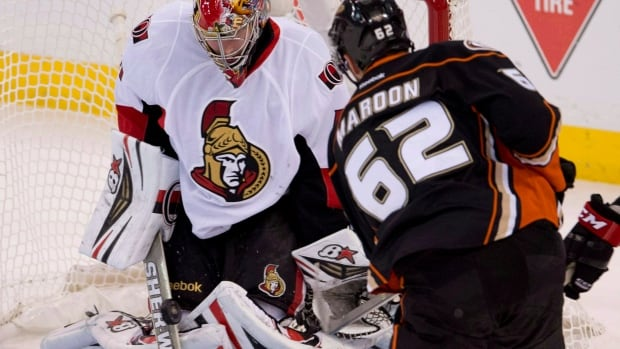 Anaheim Ducks wingerPatrick Maroon shoots on Ottawa Senators goalie Craig Anderson during first period NHL action, Friday October 25, 2013 in Ottawa. Anderson is the number one goalie in Ottawa, and Paul MacLean is making sure no one forgets it.The Senators coach announced Anderson would be getting the start against the Philadelphia Flyers Tuesday night despite the fact Robin Lehner has won three straight games and was named the NHL's first star of the week.