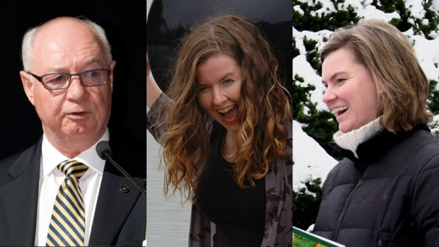 Former prime minister Arthur Meighen's great-granddaugthers Tarah Wright, right, and Alyssa Wright, centre, alleged that lawyer James Love, left, helped their grandfather effectively cut them off from their inheritance, in part using offshore investments.