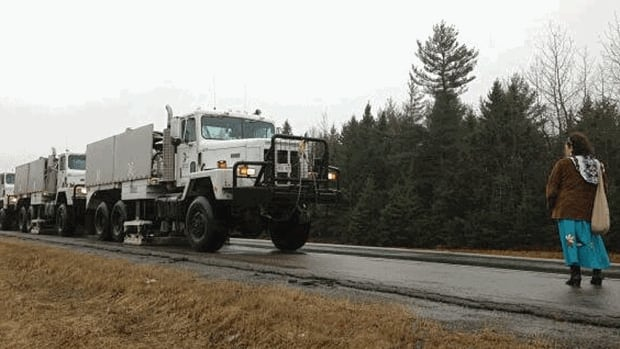 Susan Levi-Peters, former Elsipogtog chief, blocked SWN Resources Canada trucks on Highway 11 near Rexton on Wednesday.