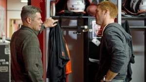 The B.C. Lions and offensive coordinator Jacques Chapdelaine, left, have agreed to part ways. Chapdelaine, who is seen here talking with starting quarterback Travis Lulay, has been with the club since 2003.