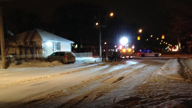 Winnipeg fire crews are at the scene of a crash on Arlington Street on Wednesday evening.