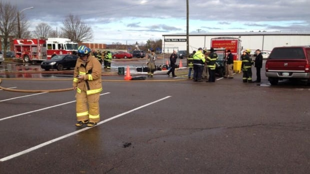 Firefighters, police and a hazmat team gathered at Cody Banks Arena to deal with a chemical leak Thursday.