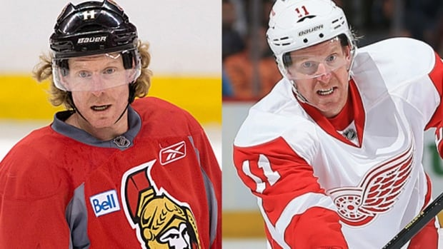 Daniel Alfredsson, seen at left with one of his many hairstyles as a member of the Ottawa Senators and at right as a member of the Detroit Red Wings this season, will experience something very foreign on Sunday.
