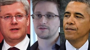 From left, Prime Minister Stephen Harper, U.S. whistleblower Edward Snowden and U.S. President Barack Obama.