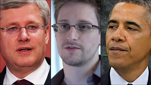 An NSA document retrieved by U.S. whistleblower Edward Snowden, middle, shows Canada allowed the agency to conduct intelligence during the 2010 G8 and G20 summits, hosted by Prime Minister Stephen Harper, left. U.S. President Barack Obama ordered a review of NSA activities following the release of previous documents.