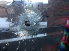 Bullet hole at Herongate high-rise apartment