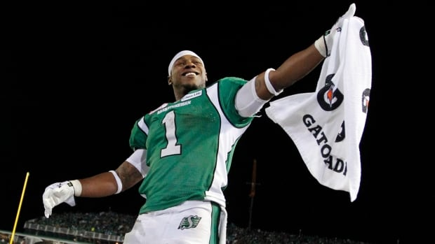 The Saskatchewan Roughriders Kory Sheets celebrates after the Roughriders defeated the Hamilton Tiger-Cats in the CFL's 101st Grey Cup on Nov. 24.