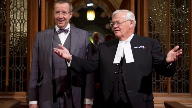 Senate Speaker Noel Kinsella, right, seen giving Estonian President Toomas Hendrik Ilves a tour of the upper chamber last May, has been named chair of the embattled Senate committee handling the controversy over senators' expenses.