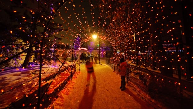 Walking through a winter wonderland tunnel at the Calgary Zoo's annual ZooLights spectacle.