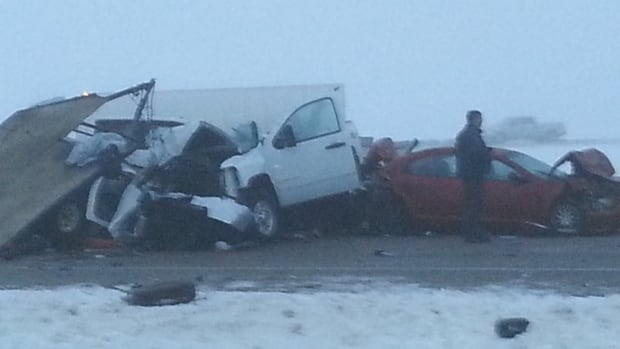 A major pile up has halted traffic along Highway 16 near Mundare, Alta.