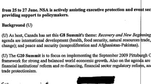 An excerpt from an NSA briefing note that outlined intelligence operations during the 2010 G20 summit in Toronto, retrieved by U.S. whistleblower Edward Snowden and reported exclusively by CBC News. Read the full document below.