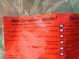 Non-compliance sticker