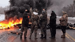 Shale gas protesters block Highway 11 near Rexton again on Dec. 4.