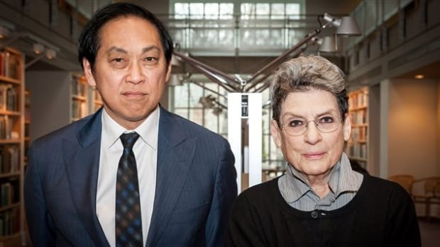After Phyllis Lambert (right) is stepping down as CCA chair 35 years after establishing the centre, and will be replaced by fellow board member Bruce Kuwabara (left).