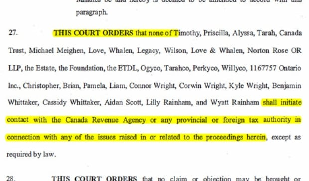 Judge David M. Brown's court order against contacting CRA