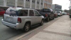 Parked cars on Duckworth Street in St. John's