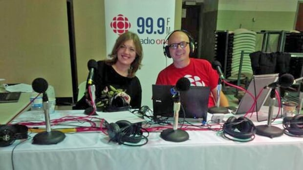 CBC Sudbury Morning North newsreader Jessica Pope and show host Markus Schwabe were all smiles Friday morning as they broadcast their show live from St. Andrew's Place in downtown Sudbury. The remote broadcast is a CBC Sudbury annual tradition.