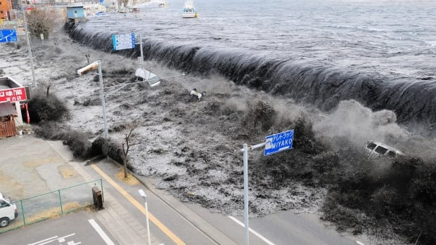 The huge tsunami on March 11, 2011, flooded over the breakwater protecting the coastal city of Miyako at Heigawa estuary area after northeastern Japan was hit by a powerful earthquake. The tsunami was far bigger than expected for the type of earthquake.