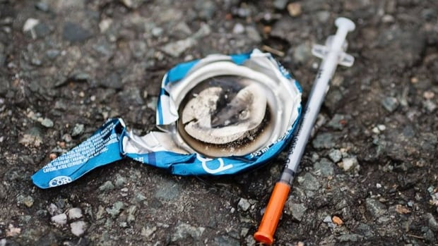 Laura Thibodeau discovered this burnt out pop can and a used needle in a wooded area of Gander known as the old townsite.