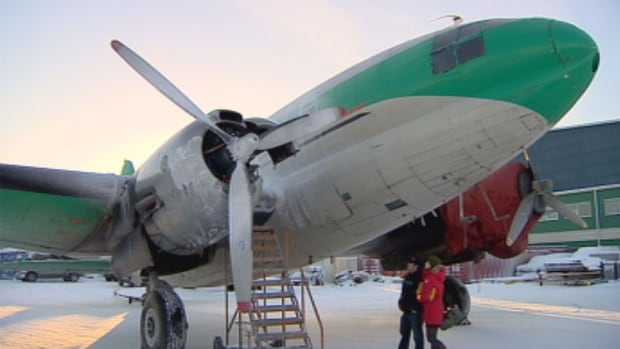This Buffalo Airways C-46 airplane caught fire after it blew an engine while taxiing down the runway at the Yellowknife airport around 8 a.m. Friday.