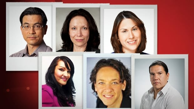 Here are some of the reporters and producers that will contribute to CBC Aboriginal.  Top row:  Duncan McCue, Merelda Fiddler, Jillian Taylor. Bottom row: Angela Sterritt,  Caroline Nepton, Waubgeshig Rice.