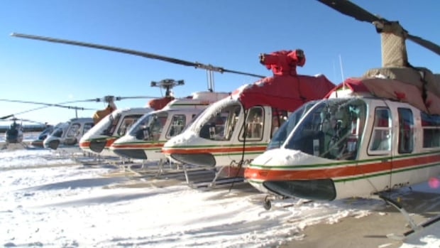 These helicopters owned by Universal are based in Happy Valley-Goose Bay.