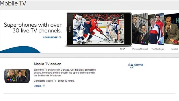 Bell Mobility charges $5 a month for its Bell Mobile TV service and allows customers to stream up to 10 hours of programming on their mobile devices without counting the usage against their monthly wireless data caps. It costs $3 for each additional hour.