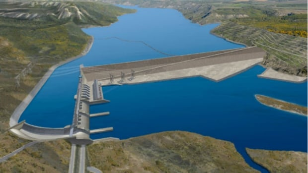 Artist's rendering of proposed Site C dam
