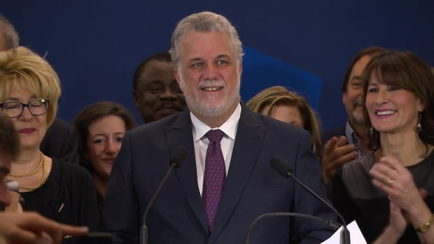 Philippe Couillard thanks voters for the victory and says that in Quebec, all dreams are possible.